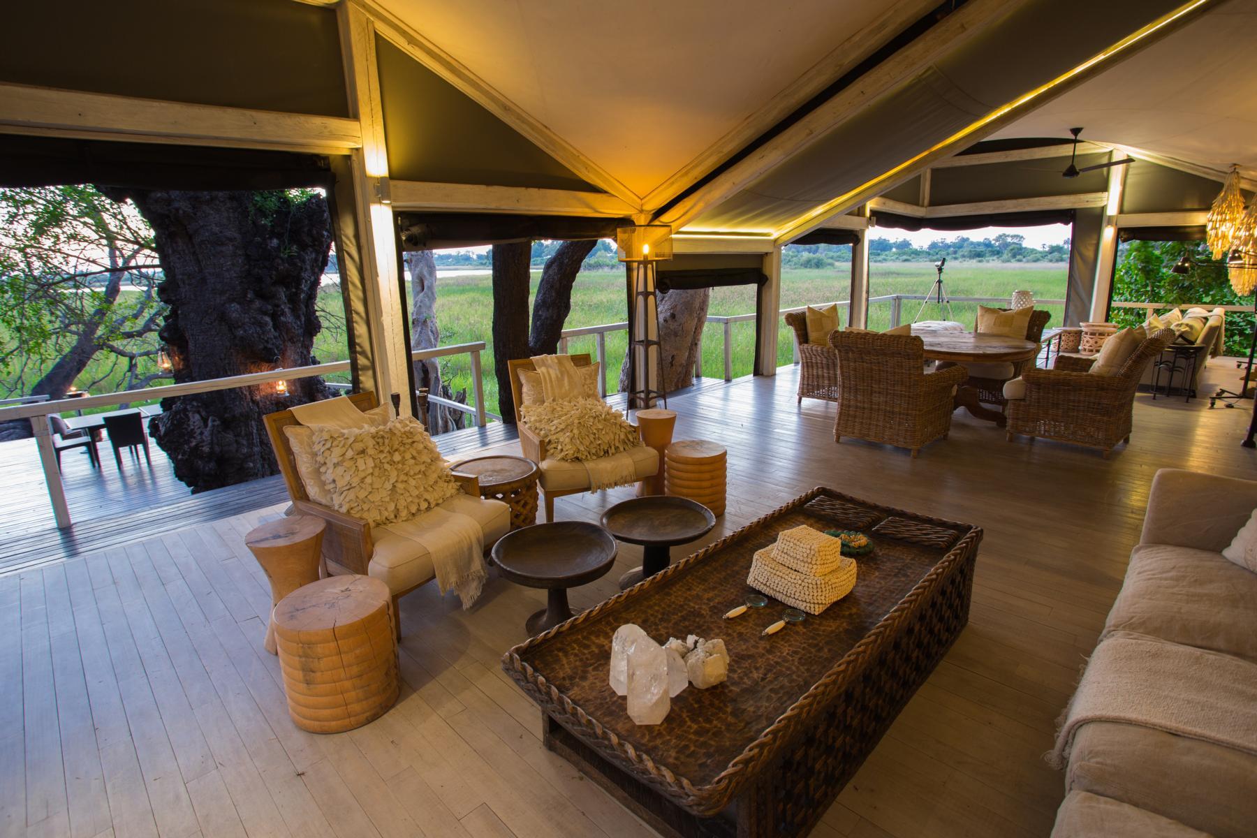 Lobby im Abu Camp, Okavango Delta, Botswana