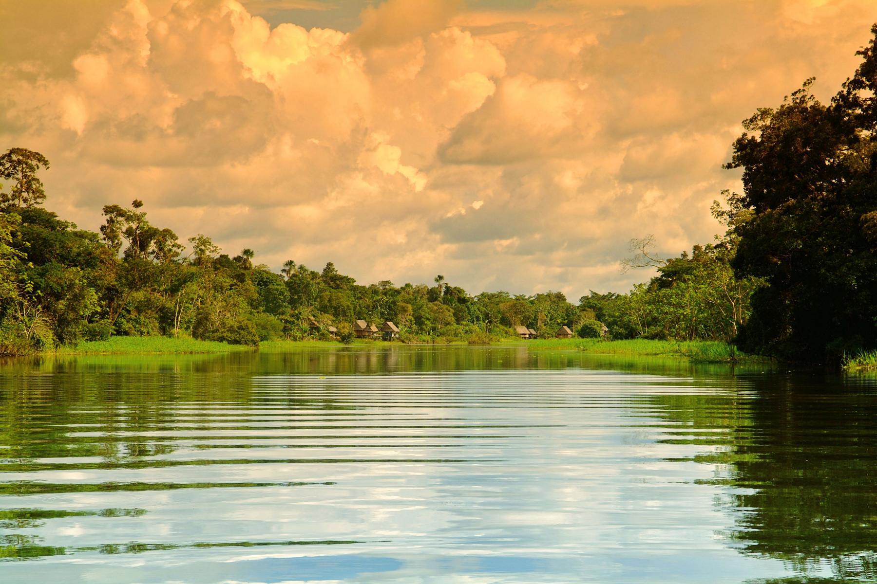 Der Amazonas im Sonnenuntergang bei einer Kreuzfahrt auf der Aria Amazon