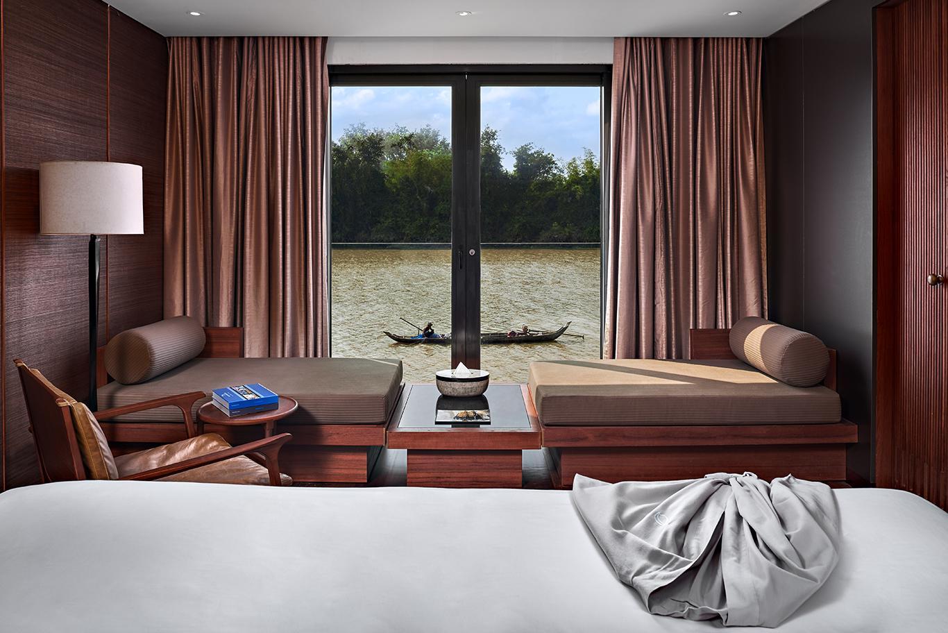 Blick aus einer Suite auf der Aqua Mekong in Kambodscha