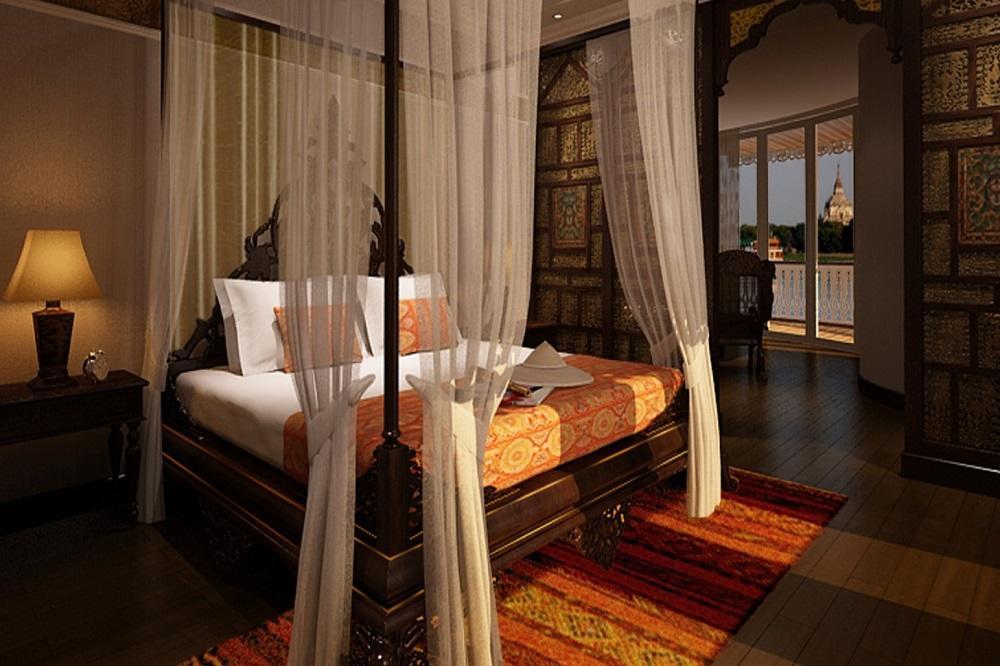 Suite mit Himmelbett, Fenster und Ausblick auf der Anawrahta der Heritage Line in Myanmar