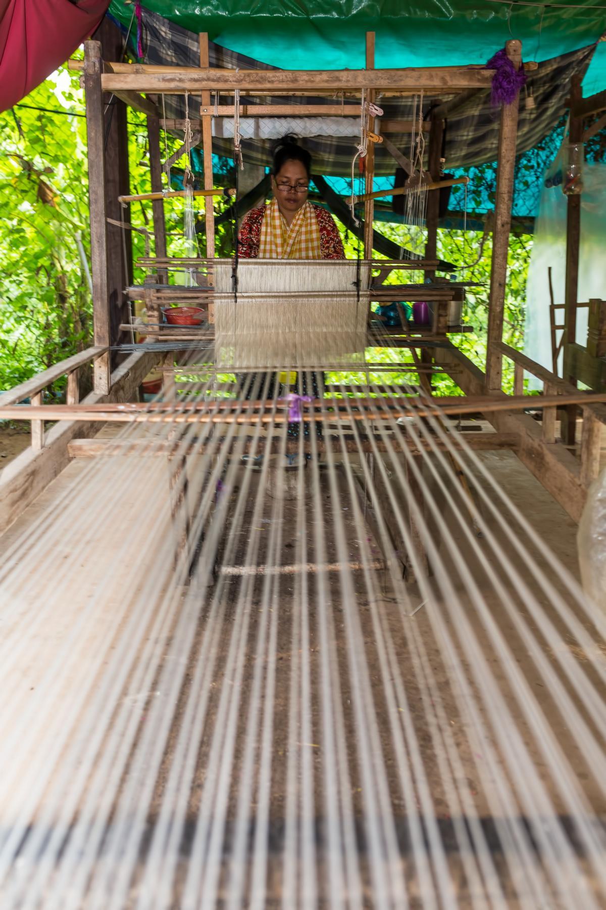 Webstuhl auf dem Land im Mekongdelta bei einem Landausflug