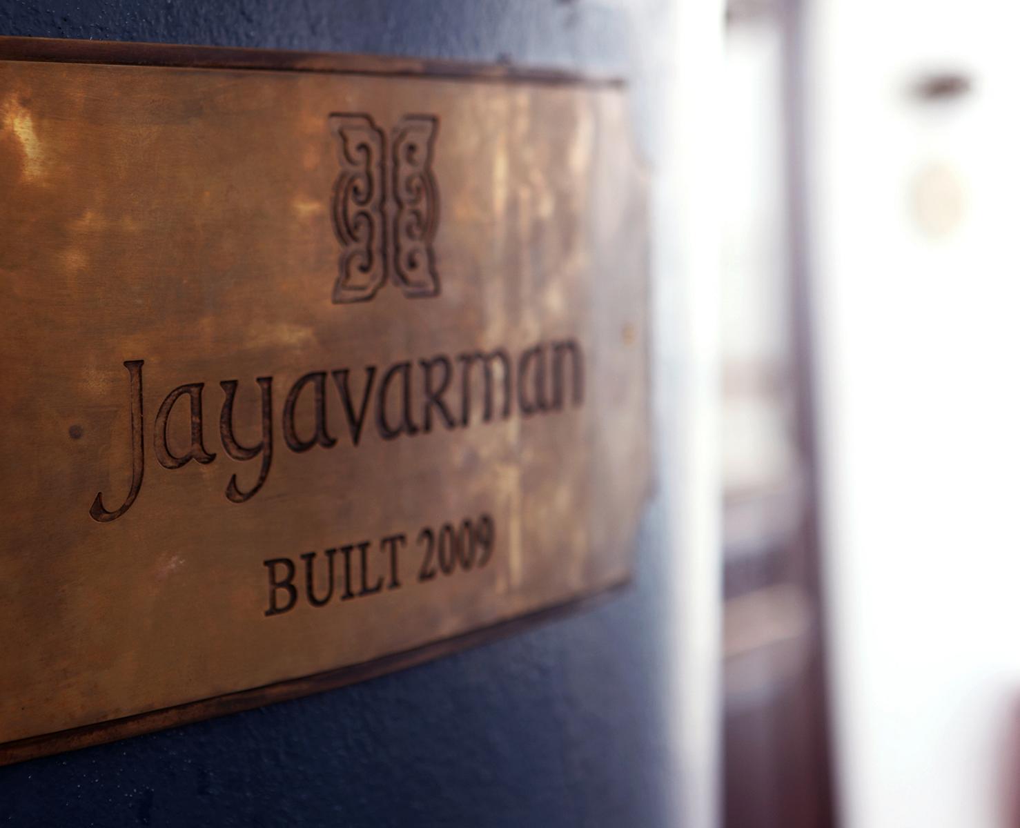 Schild auf der Jayavarman der Heritage Line auf dem Mekong in Vietnam und Kambodscha