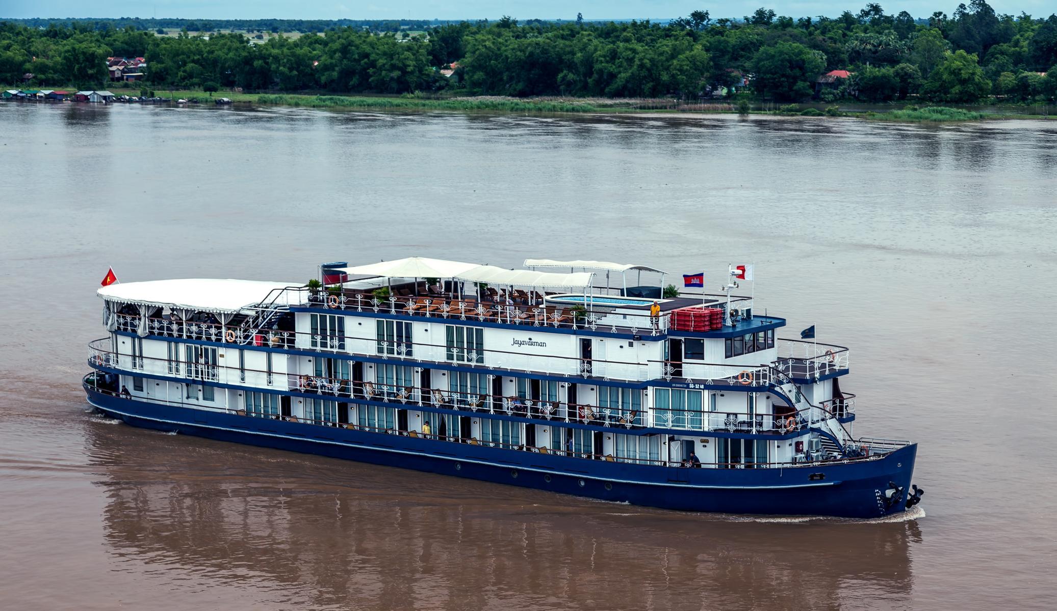 Die Jayavarman der Heritage Line auf dem Mekong in Vietnam und Kambodscha