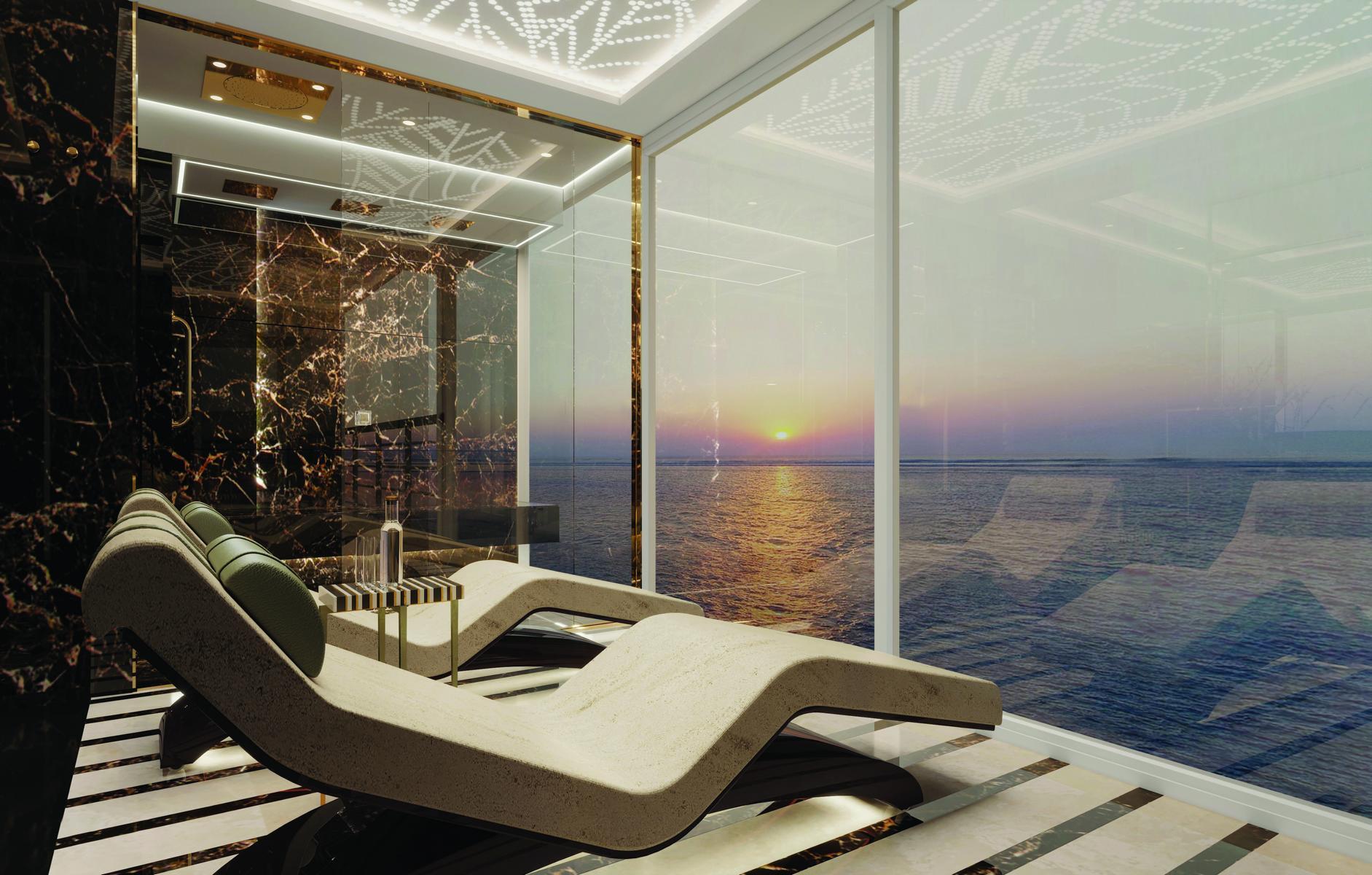 Liegestühle mit Ausblick in der Regent Suite auf der Regent Seven Seas Splendor