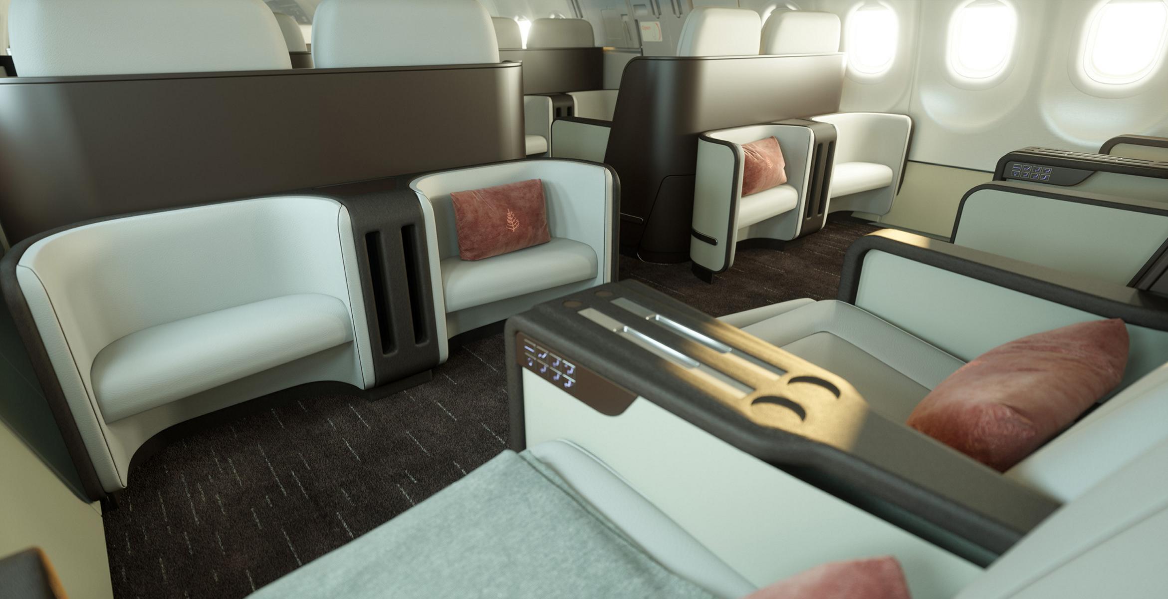 Die geräumigen Sitze des Four Seasons Private Jet