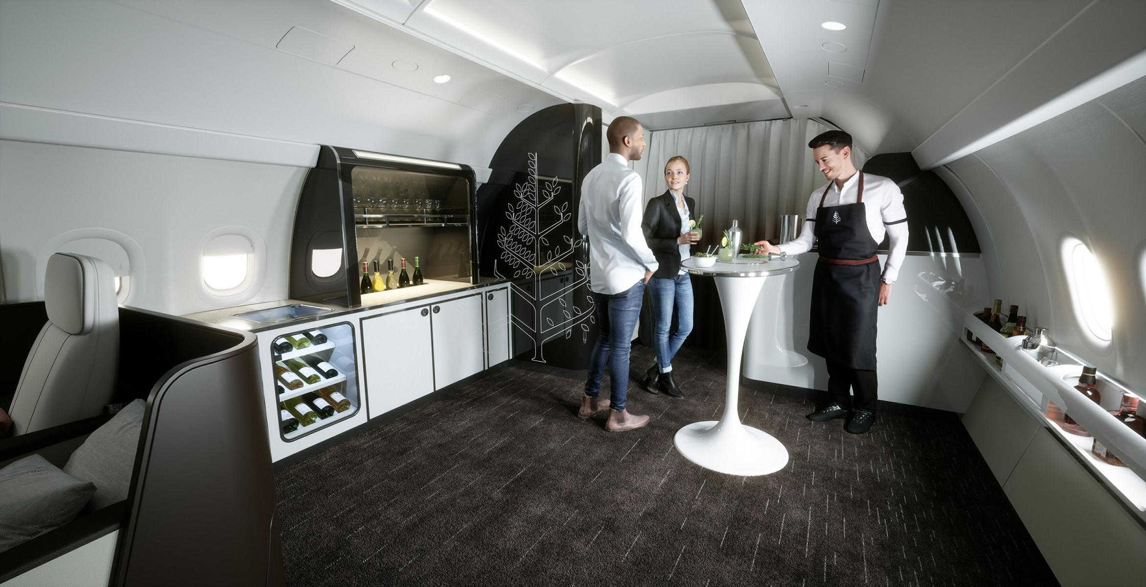 Das Interieur des Four Season Private Jet mit Stehtisch in der Bar